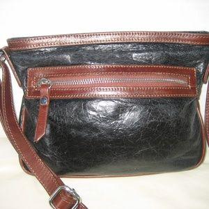 TANO Black & Brown Leather Crossbody Handbag